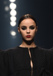 DUBAI, UNITED ARAB EMIRATES - OCTOBER 26: A model walks the runway during the Essa show at Fashion Forward October 2017 held at the Dubai Design District on October 26, 2017 in Dubai, United Arab Emirates. (Photo by Stuart C. Wilson/Getty Images for FFWD)
