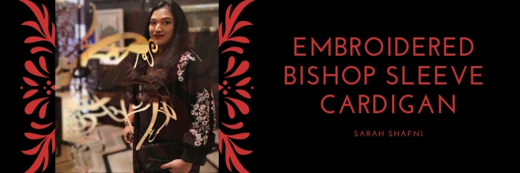 Embroidered Bishop Sleeve Cardigan